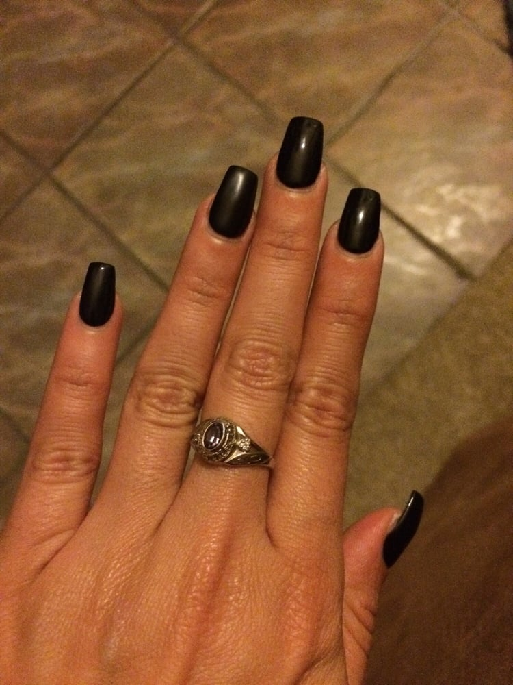 Coffin shape acrylics with black gel polish and one matte nail - Yelp