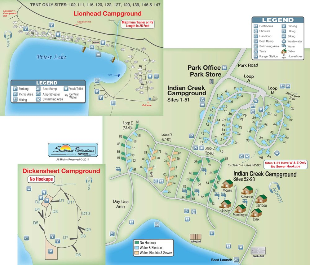 Campsite Map Of Indian Creek Lion Head And Dickensheet Campgrounds