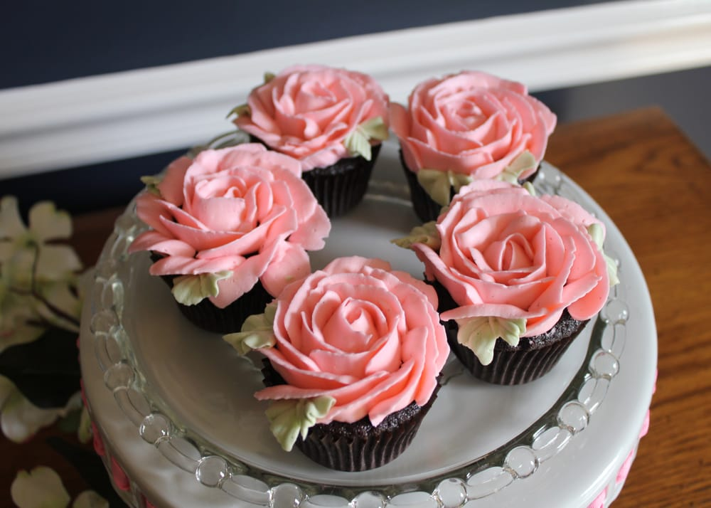 Cake With White Whipped Cream Roses