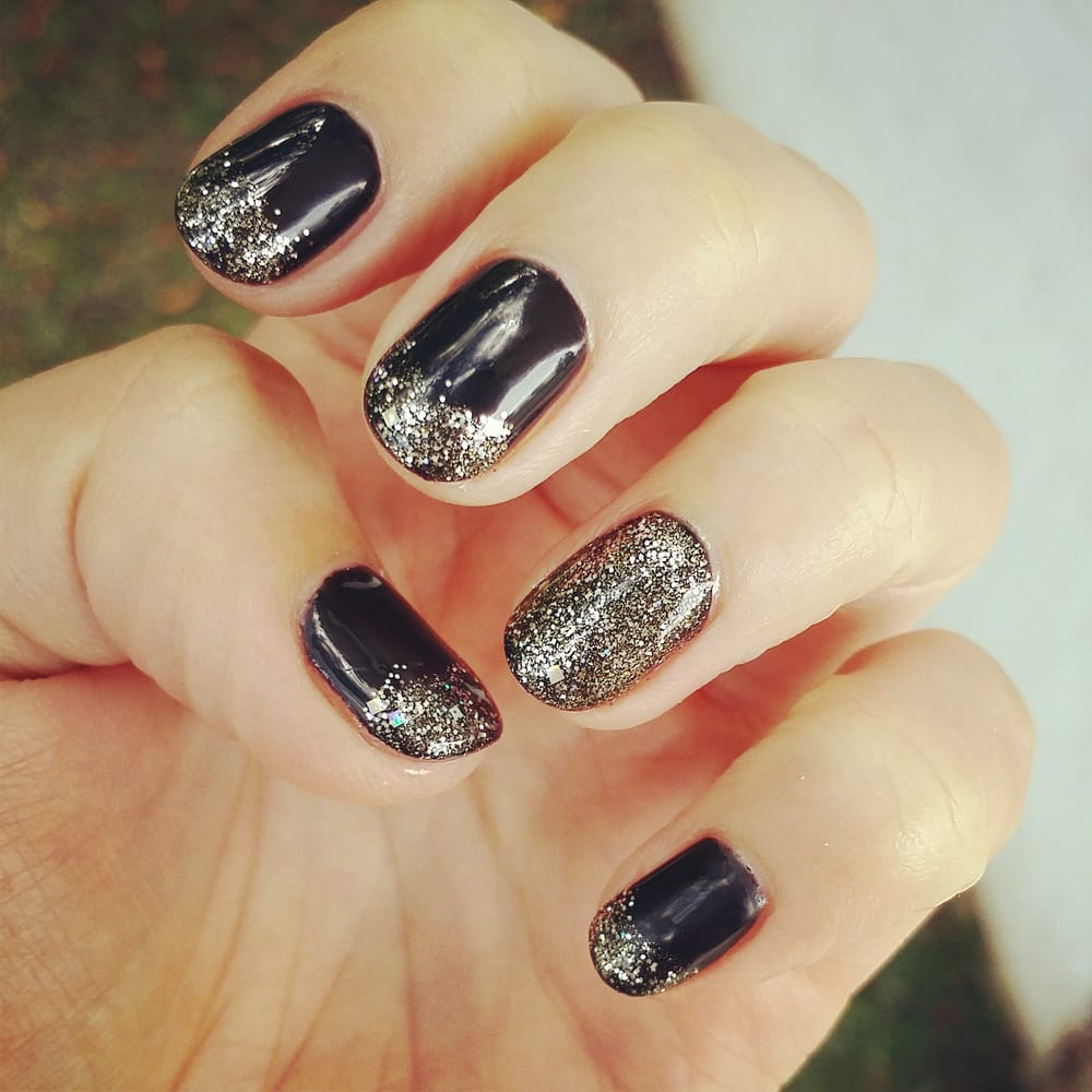 Gel nail-black base with silver and gold french - Yelp