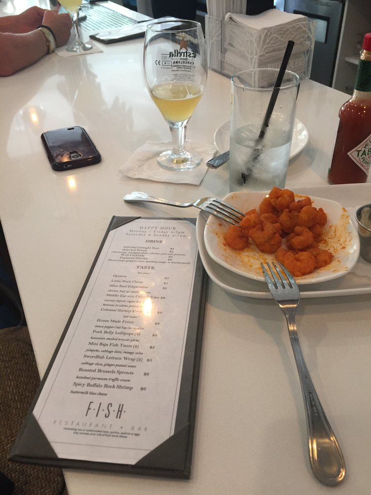 Happy hour allagash 4 spicy buffalo rock shrimp 6 for Fish restaurant stamford ct