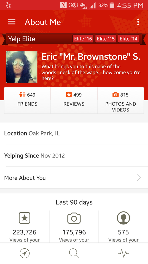 What a typical Yelp Elite profile looks like on the Android