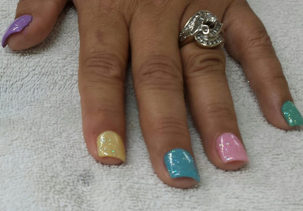 Acrylic nails with different color polish on each nail - Yelp