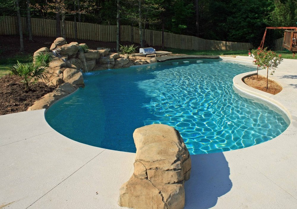 Fantastic vinyl pool with swim up bar and waterfall yelp - Crystal pools waterfall ...