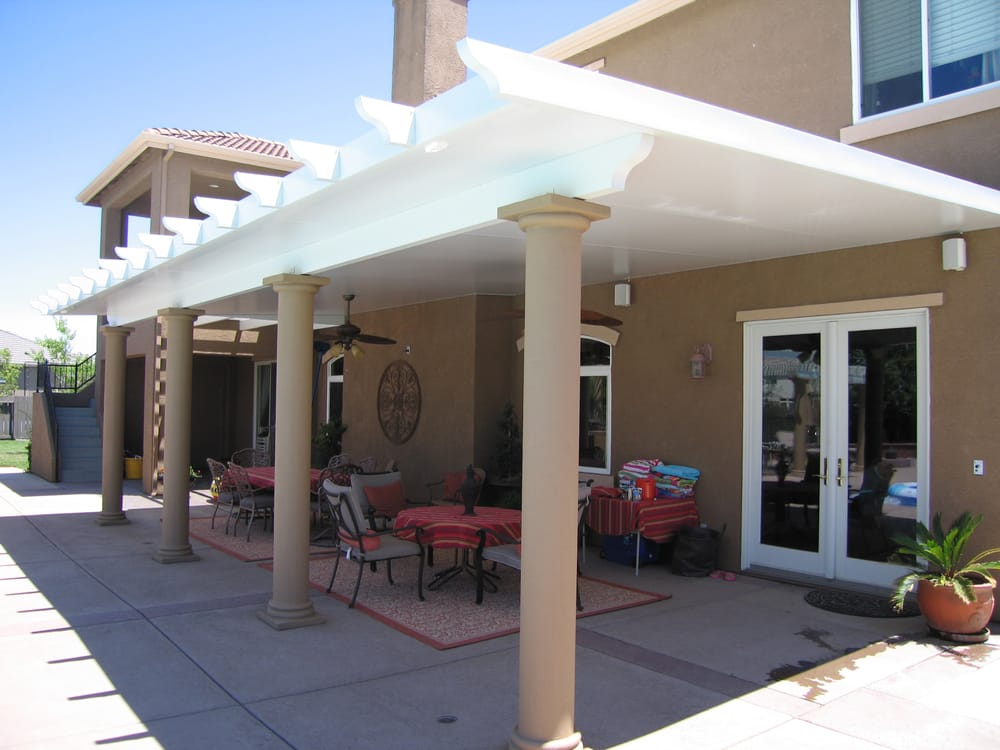 3 insulated patio cover with stucco columns yelp for Stucco columns