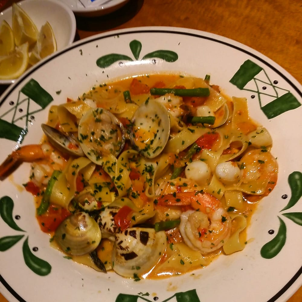 Pappardelle Pescatore. Shrimp. Scallops and Clams in a red ...