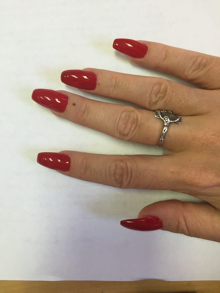 My red coffin shaped nails by Heidi! - Yelp