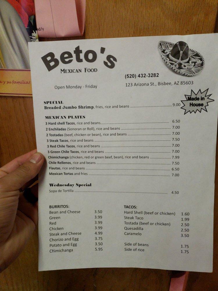 Beto's Mexican Food: 123 Arizona St, Bisbee, AZ