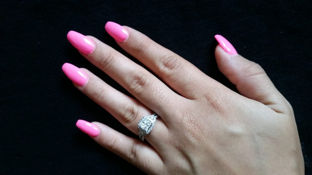 Bright neon pink gel coffin nails - Yelp