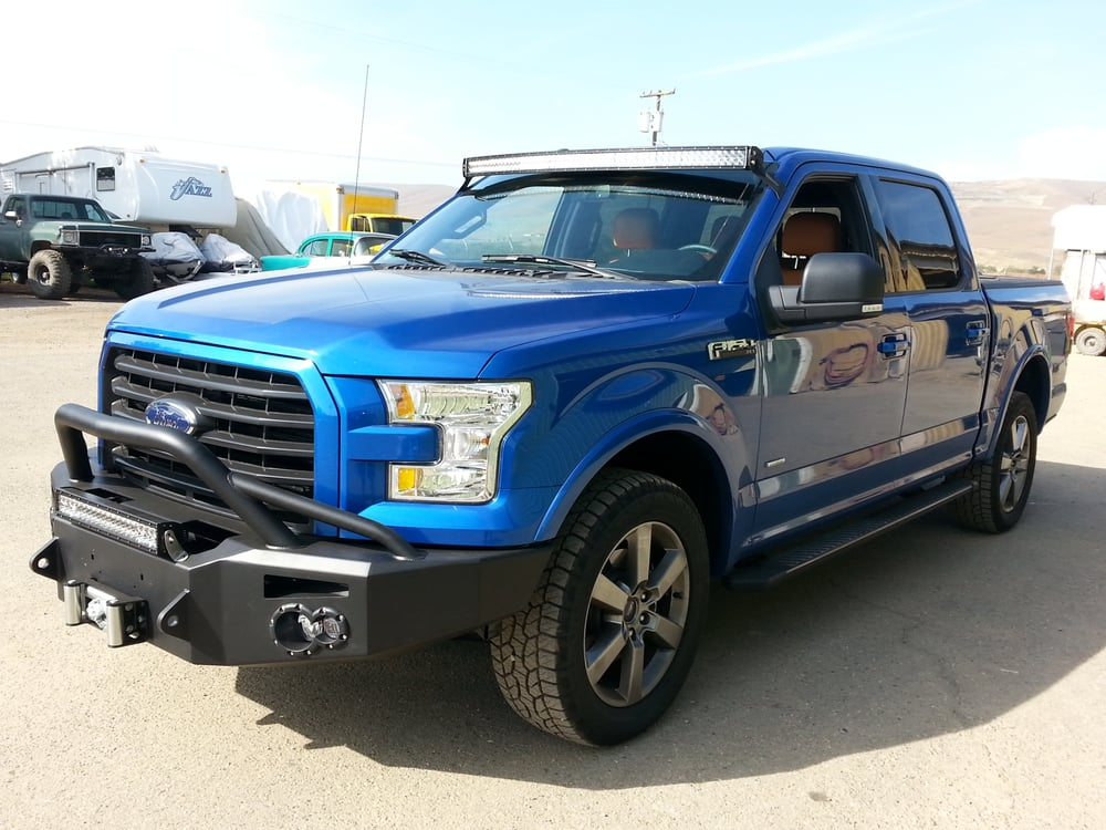2015 ford f150 fabfours bumper w winch led light bar. Black Bedroom Furniture Sets. Home Design Ideas