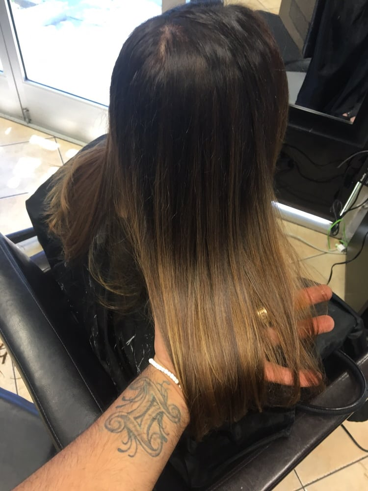 Ombre Hair Color Brown Color Base Blend To Pale Ash Blonde Yelp