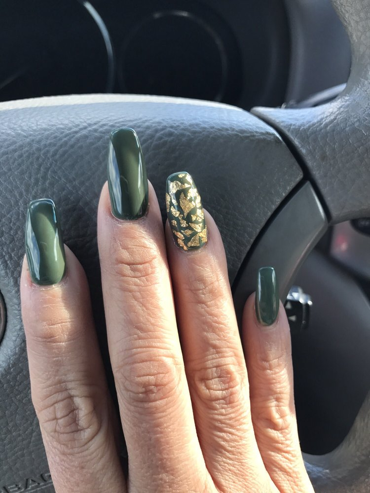 Olive nails with gold flakes yelp for 66 nail salon neptune nj