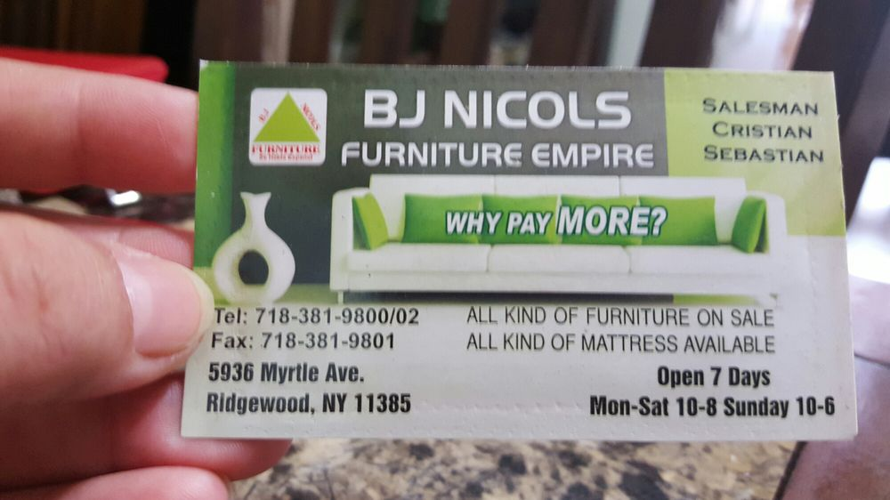 Bj Nicols Furniture Empire: 5936 Myrtle Ave, Ridgewood, NY