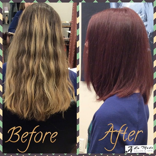 Before and after wine red hair color yelp for A la mode salon brooklyn