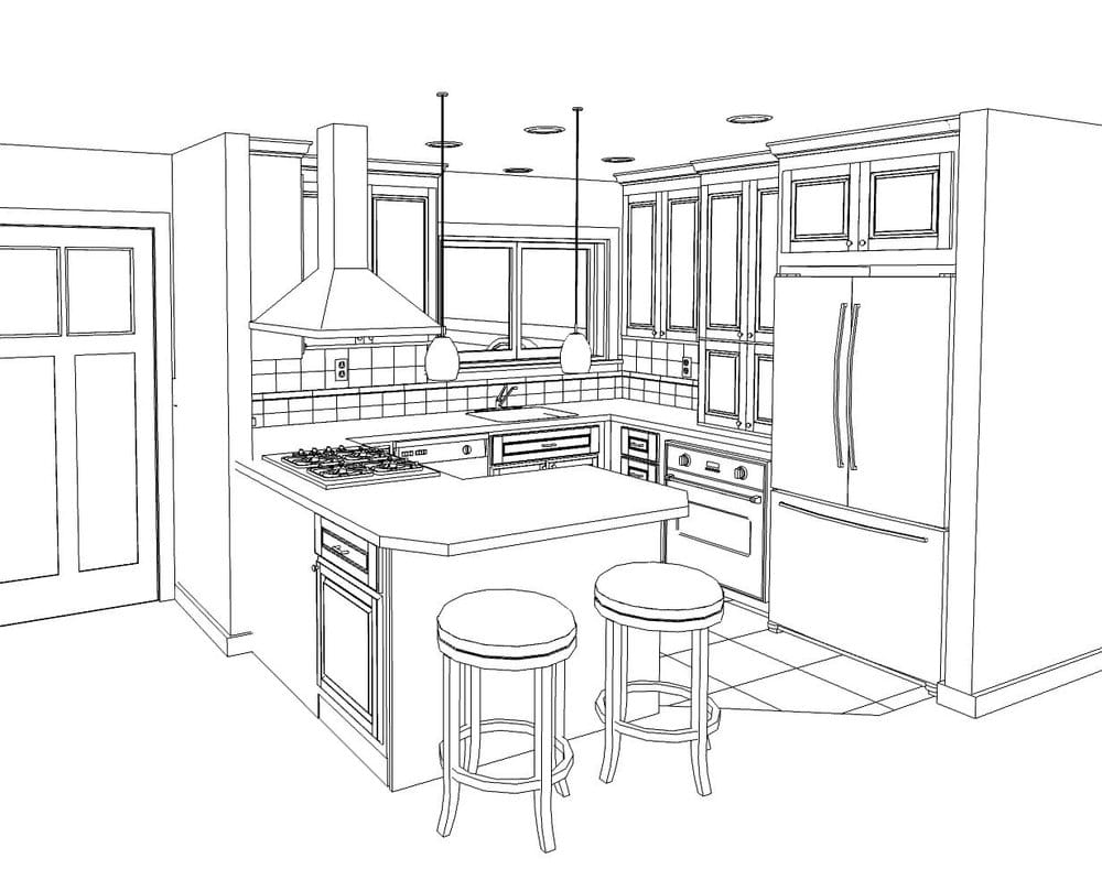 Line drawing of a small kitchen remodel in willow glen yelp for What size dining table for 10x10 room