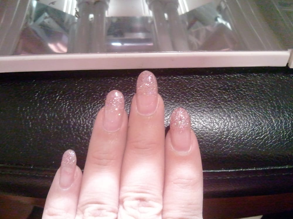 Glitter french tip gel nails. - Yelp