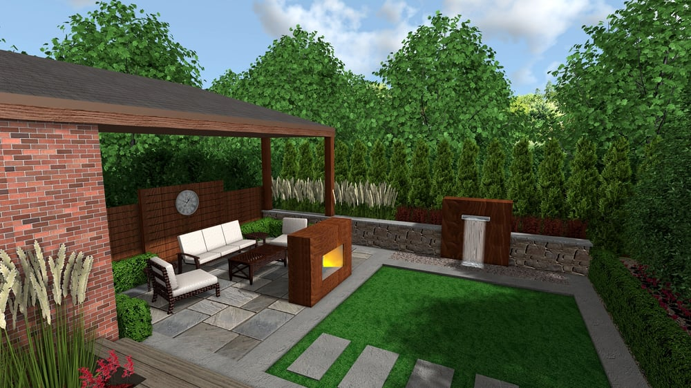 Photo Of Green Apple Landscaping Toronto On Canada Lounging Patio Featuring Fireplace