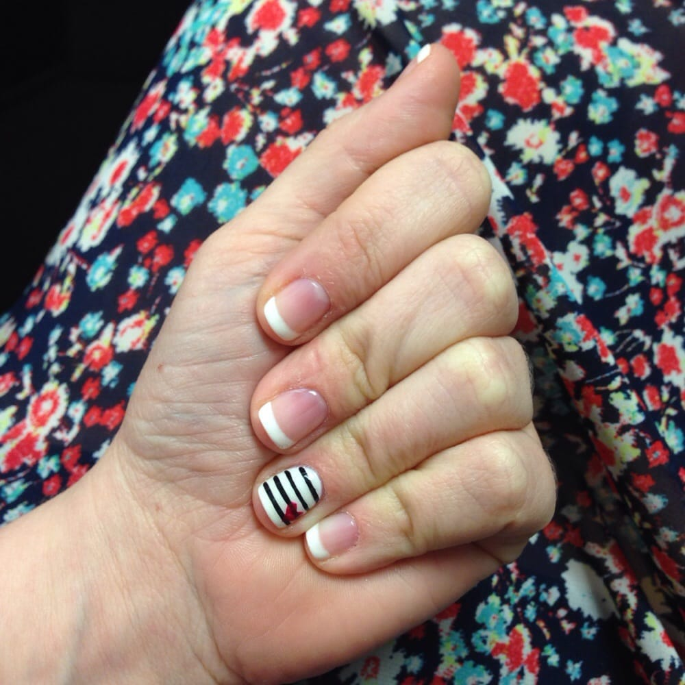French manicure with striped accent nail with hot pink heart... $43 ...