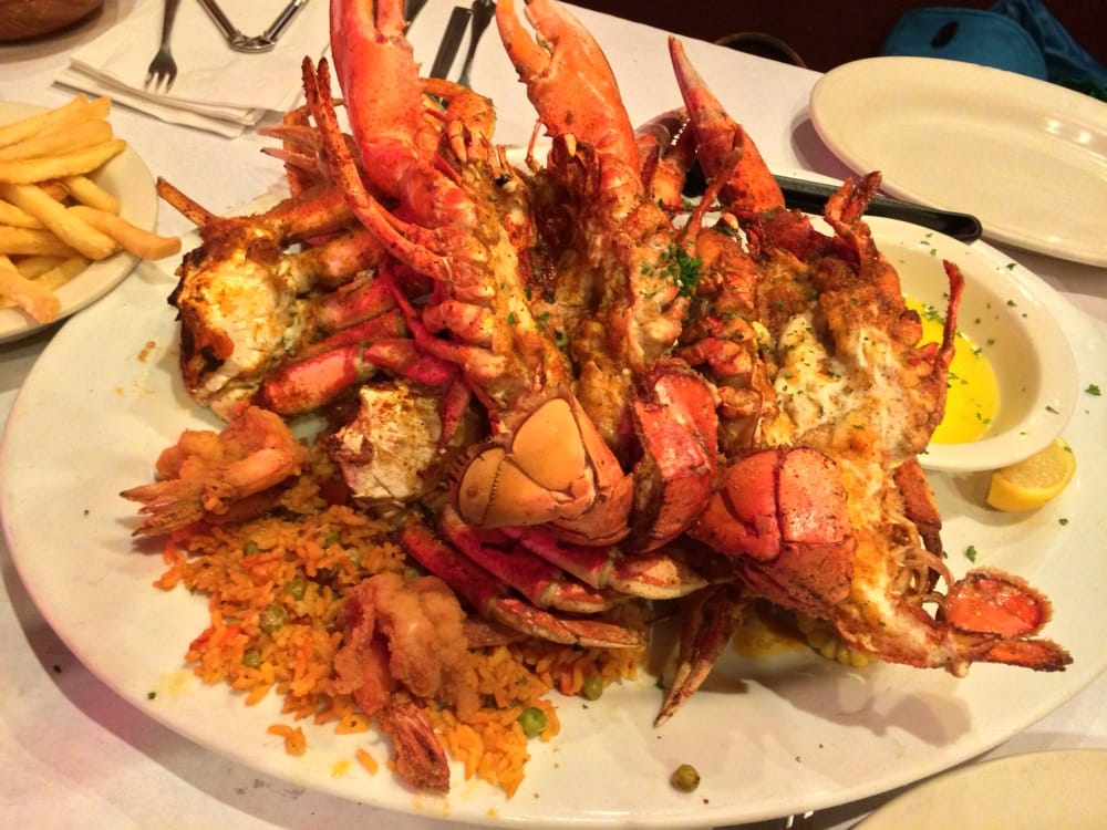 Broiled Lobster House Crab & Lobster Feast- two 1-1/4lb Maine Lobsters, Snow Crab Clusters ...