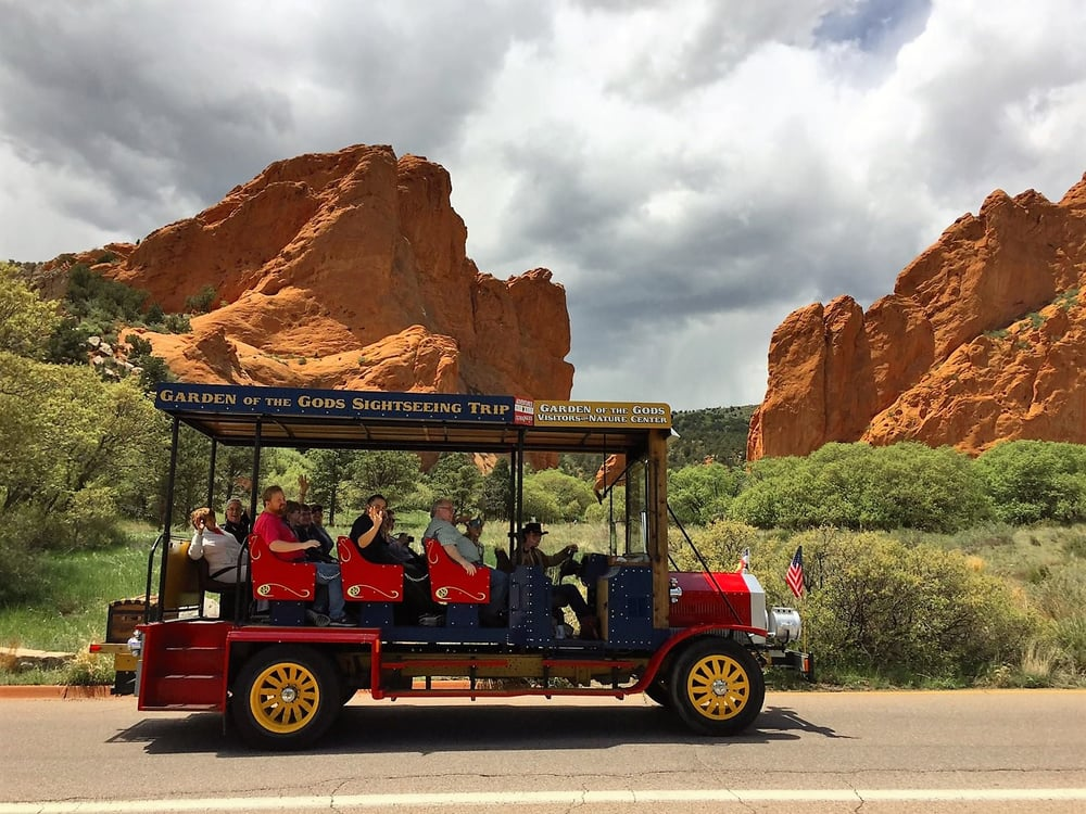 1909 Trolley Taking Some Guests Through Garden Of The Gods