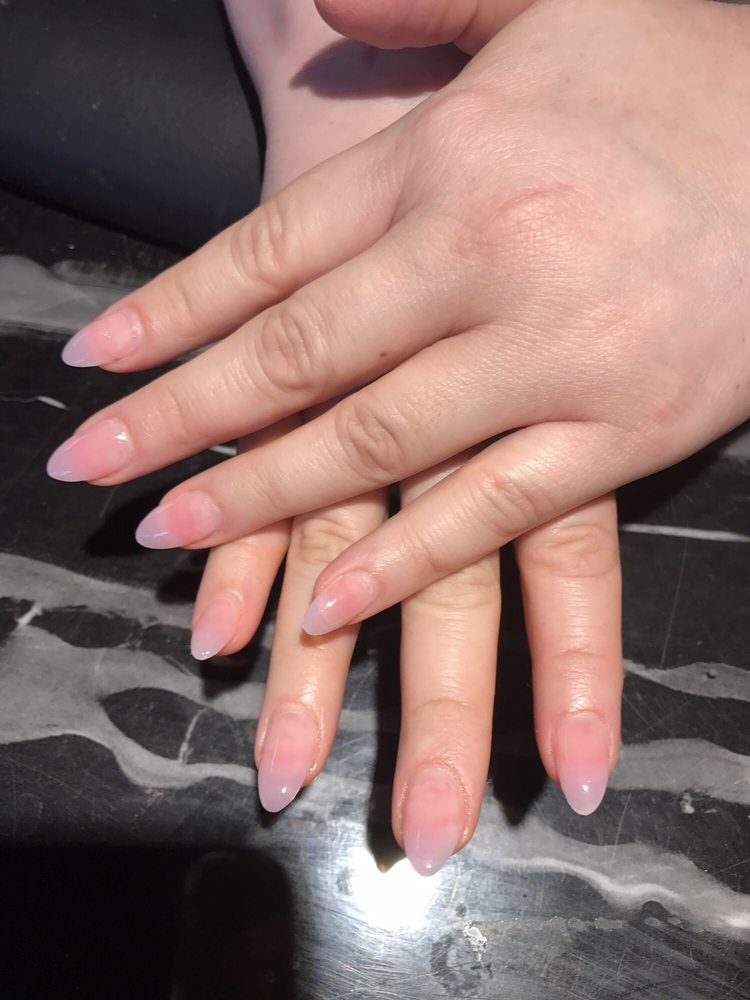 Almond shape, full set, dark pink acrylic with clear gel top. No ...