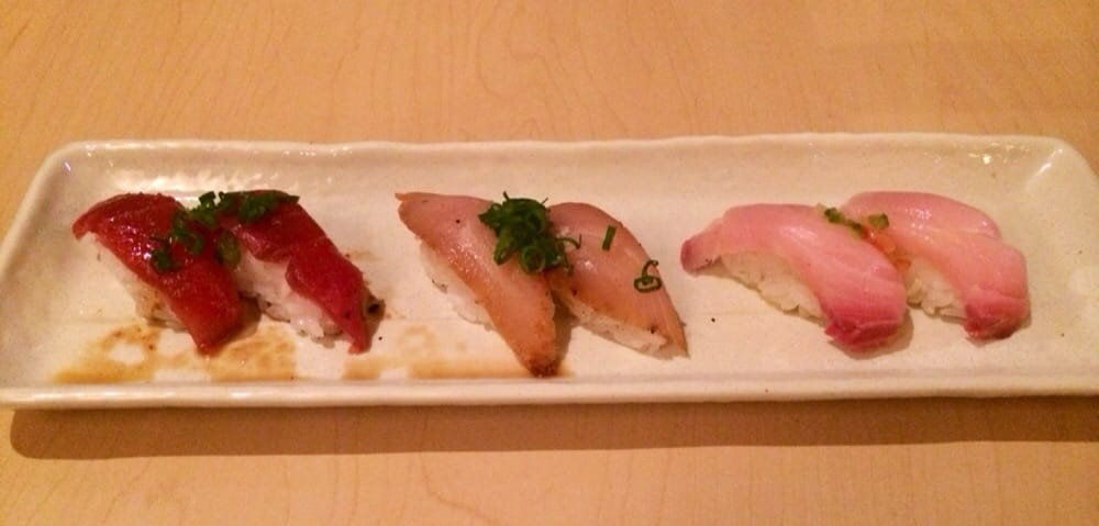 Garlic tuna cajun albacore yuzu yellowtail nigiri yelp for Yellowtail fish sushi