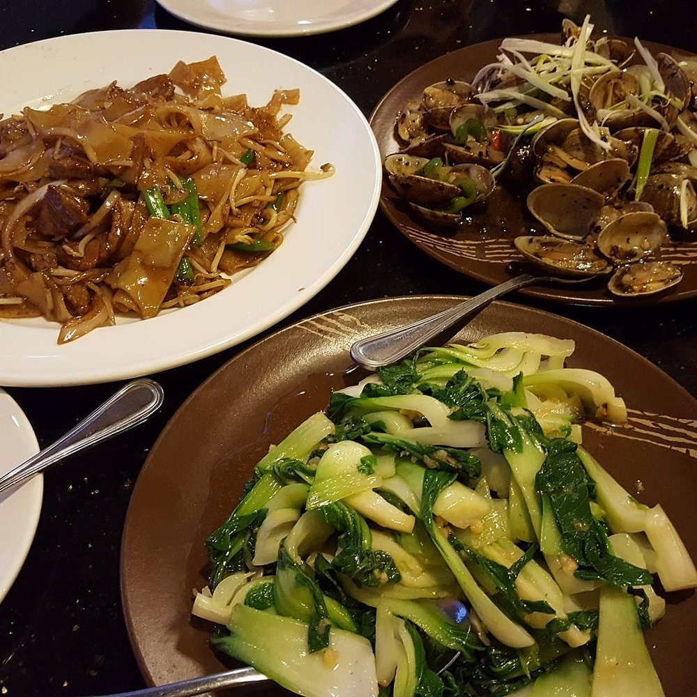 Beef chow fun, clams with black bean sauce and garlic bok ...