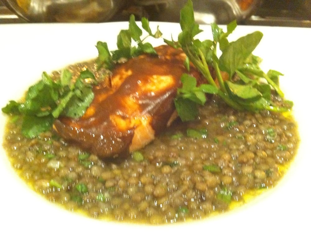 ... United States. Porchini mustard glazed salmon with lentils @PulinosNY