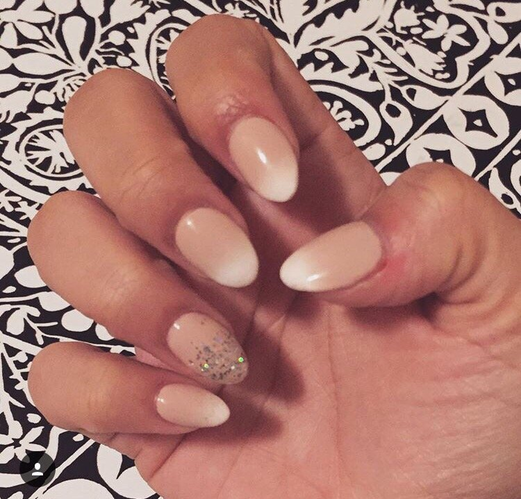 Ombre nude French manicure with a full set almond shape by Fallon - Yelp