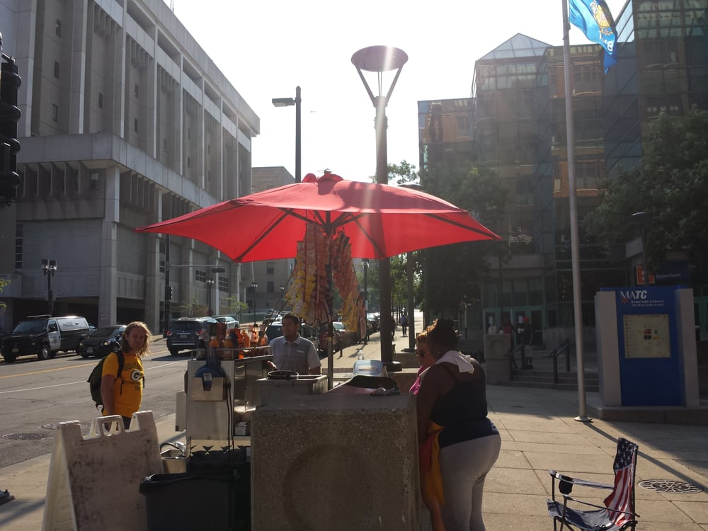 Hot dog cart in front of MATC: 701-821 W State St, Milwaukee, WI