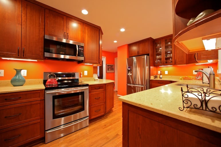 Remodeled kitchen with silestone countertops cherry for Bathroom appliances near me
