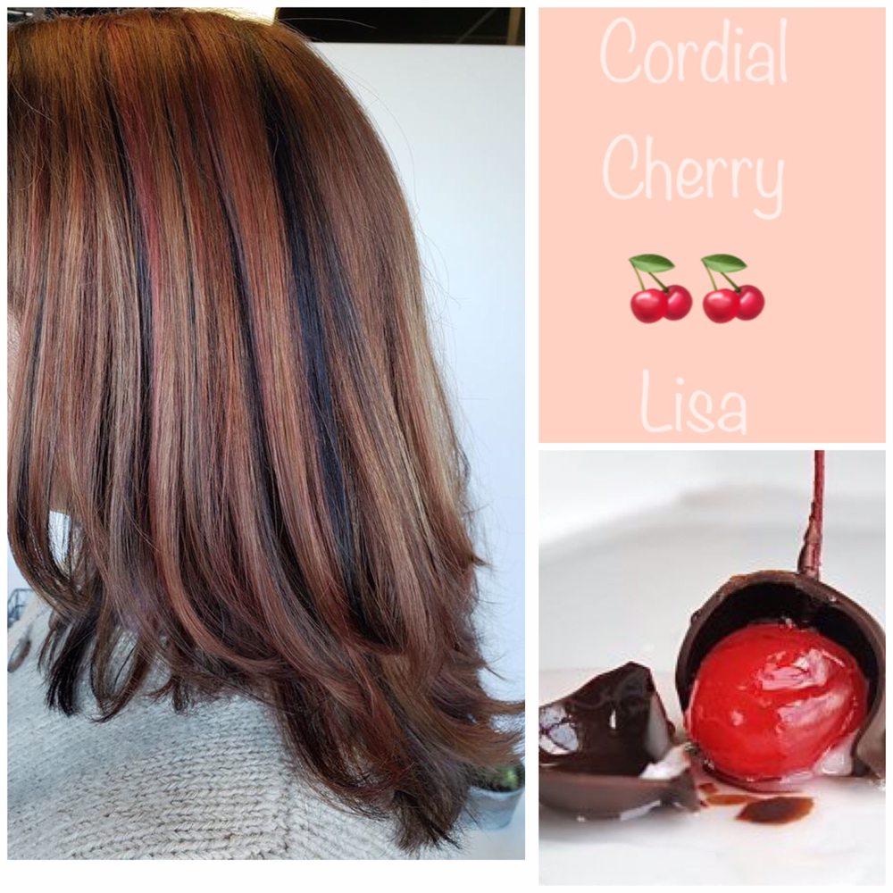 Copper Red Lowlights Medium Blonde Highlights Rich Chocolate Nape