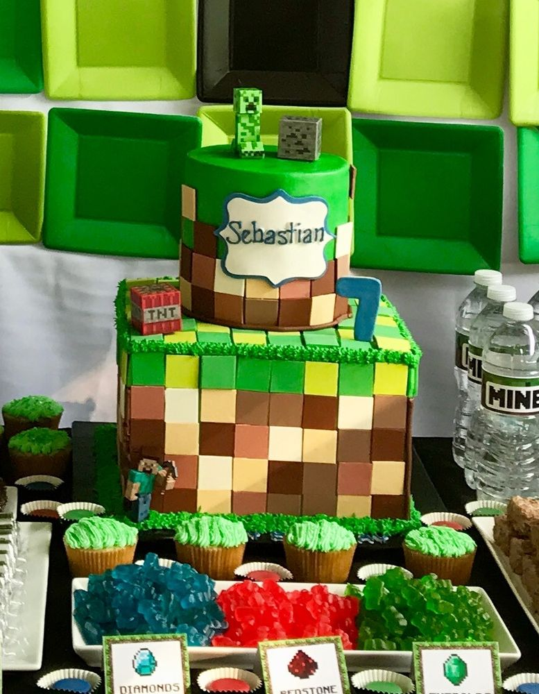 My son's minecraft theme cake! It was delicious! - Yelp