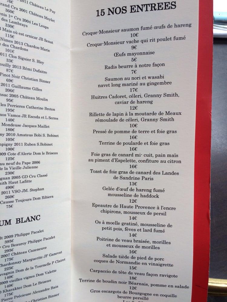 Entrees menu yelp - Le comptoir du relais restaurant reservations ...