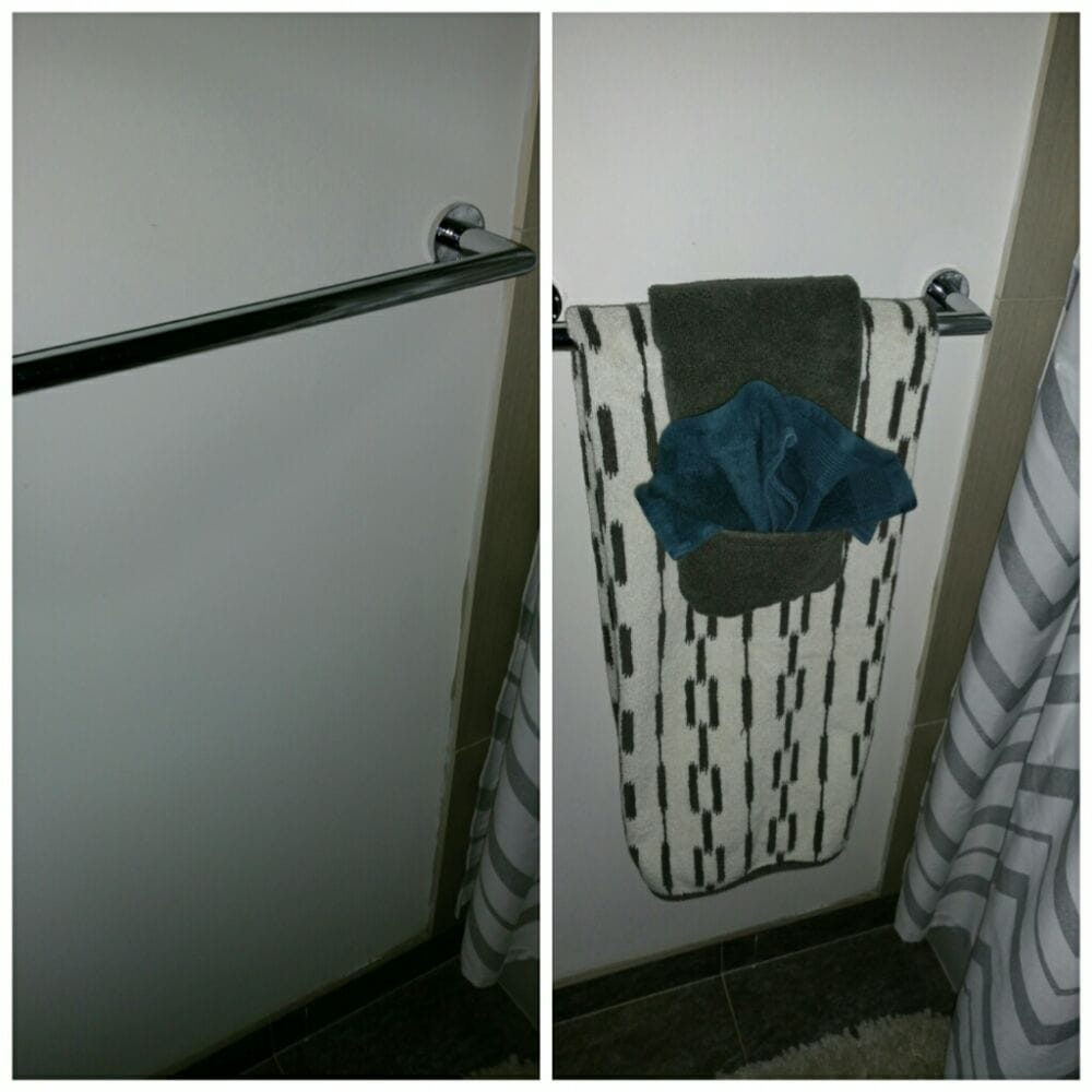 Bathroom decorative towel folding before and after yelp for Bathroom towel folding designs
