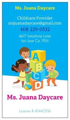 photo of ms juana daycare san jose ca united states business business card
