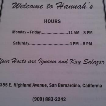 Hannah S Restaurant San Bernardino