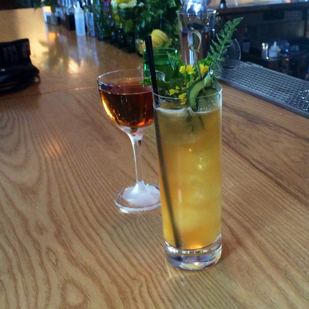 Photo of AQ Restaurant & Bar - San Francisco, CA, United States. Pimm's Cup and Sherry-tini