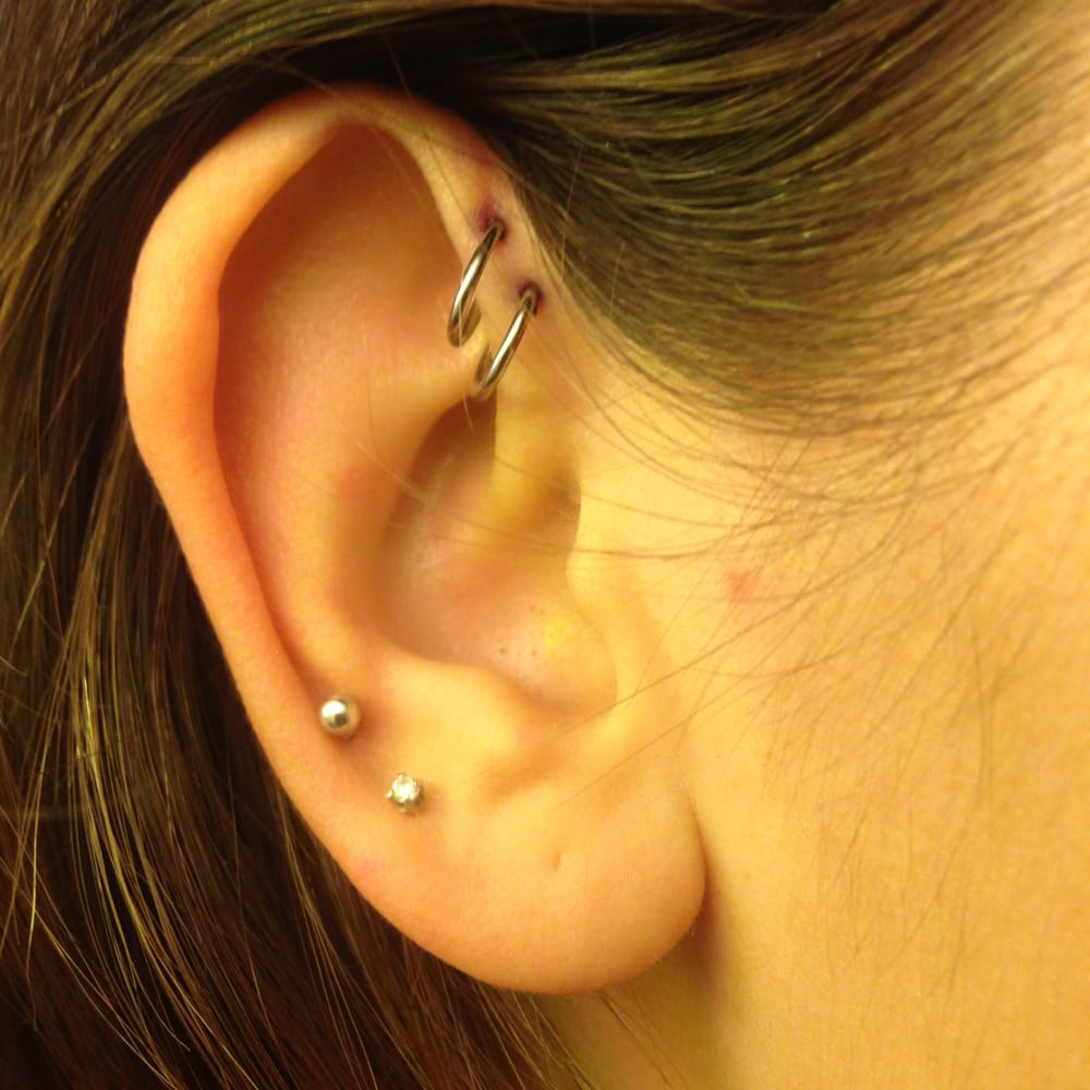 Double Forward Helix Piercing By Alan Super Pleased Yelp