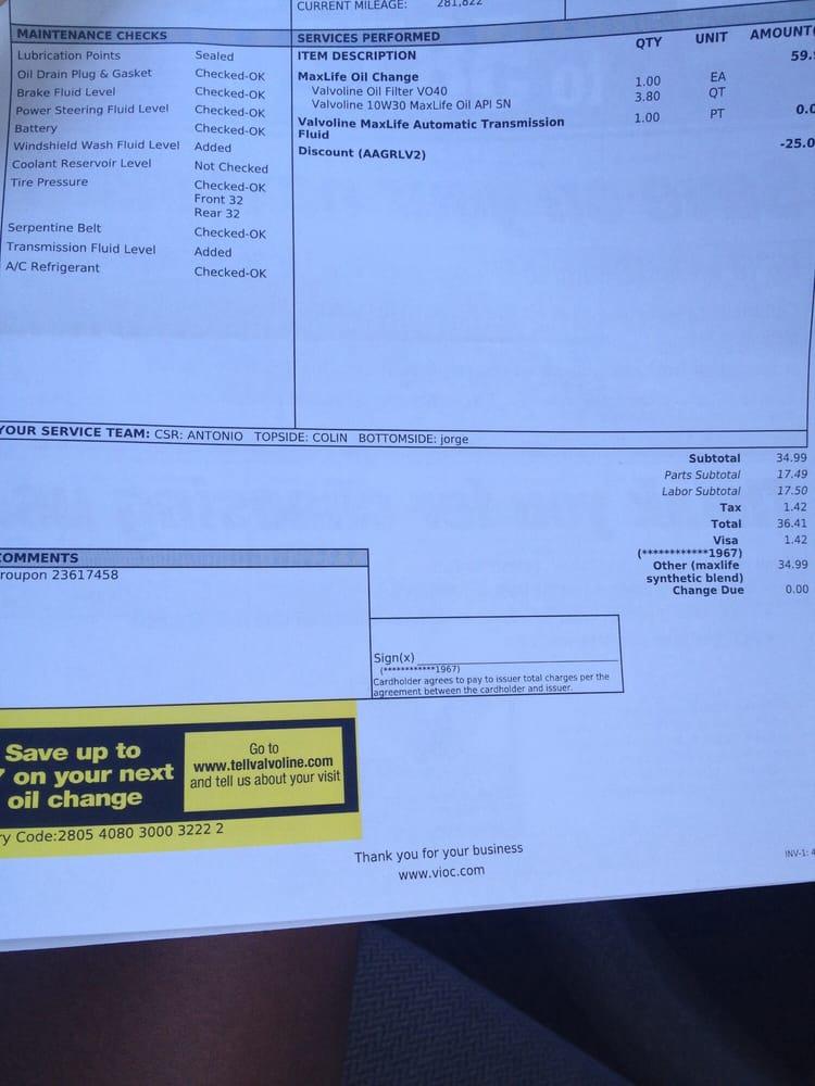 valvoline receipt yelp