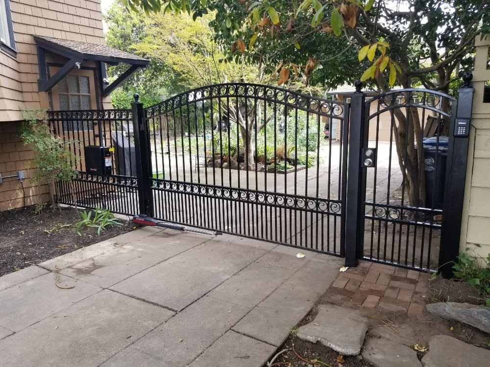 Automatic Swing Driveway Gate With Pedestrian Gate And