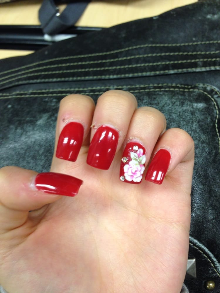Red nails with fake tip, flower design 32$ - Yelp