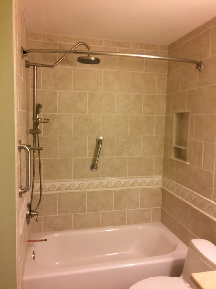 shower (wall tile and tub), fixtures and custom wall niche - Yelp