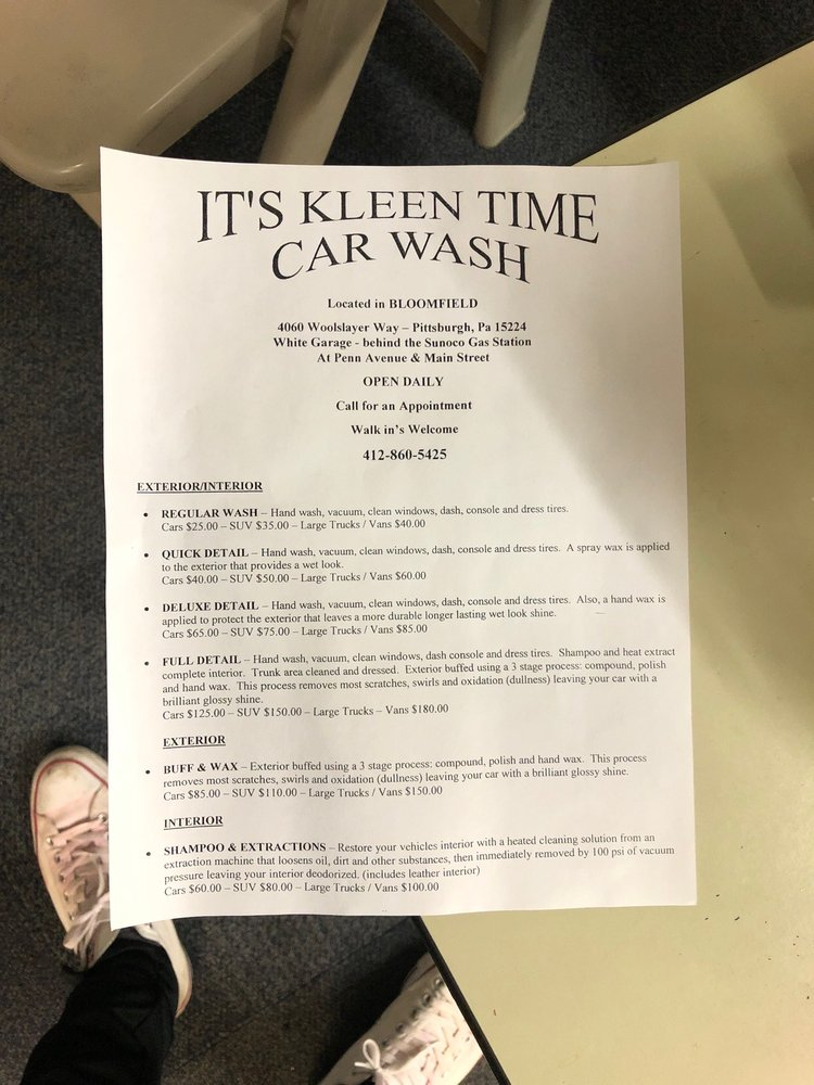 It's Kleen Time Car Wash: 4060 Woolslayer Way, Pittsburgh, PA
