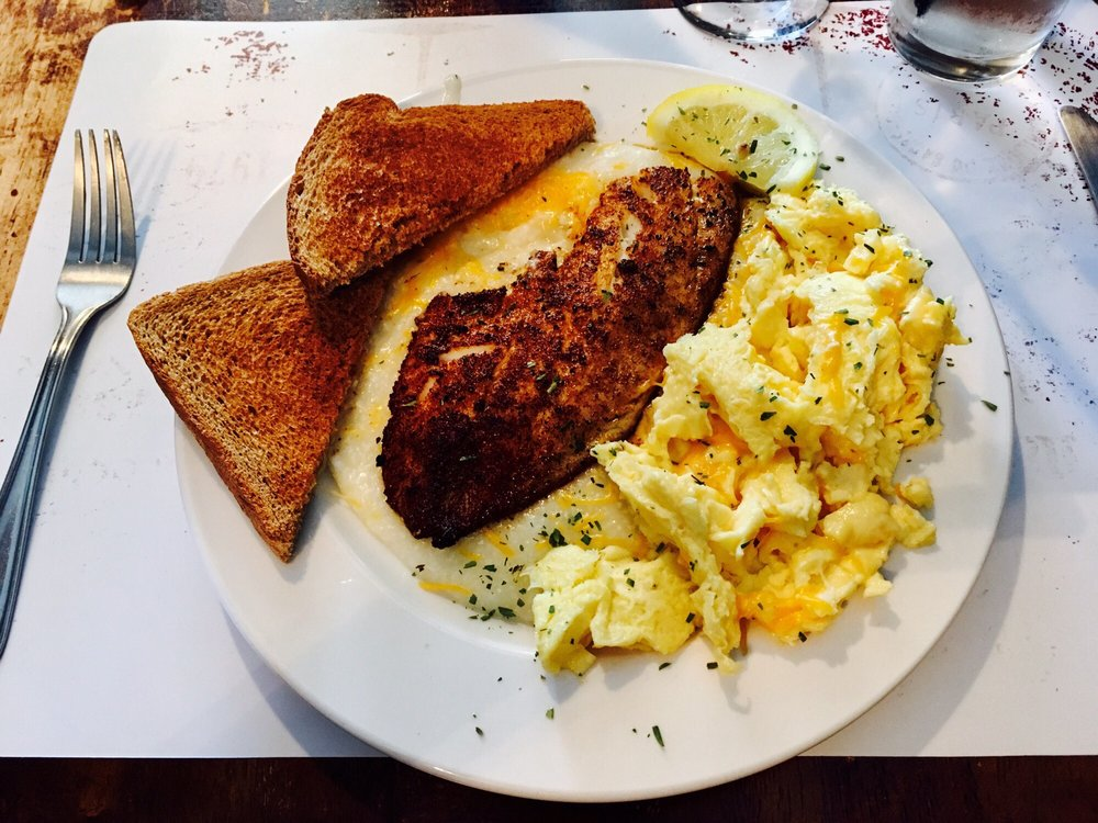 Brunch blackened fish and grits heaven in your mouth yelp for Fish and grits near me