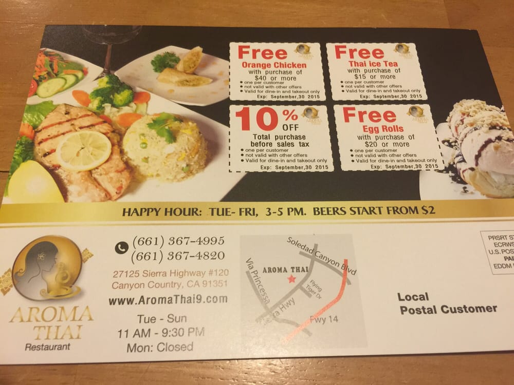 Coupons yelp for Aroma thai cuisine