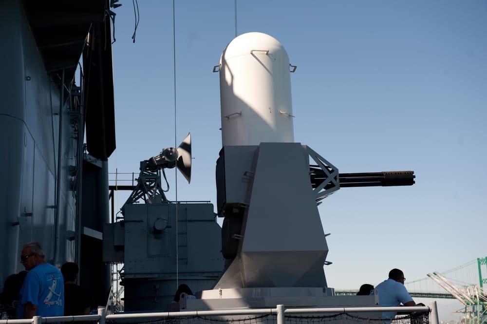 Phalanx anti-missile Gatling gun, capable of spitting out ...