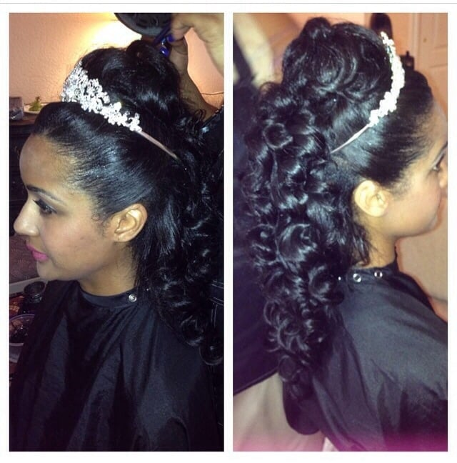 Wedding Hairstyle With Hair Extensions: Wedding Day Hair Extensions Half Up With Wand Curls