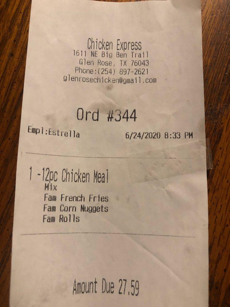 Chicken Express: 1611 NE Big Bend Trl, Glen Rose, TX