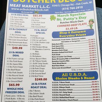 Photo Of Butcher Block Meat Market Oak Creek Wi United States Menu
